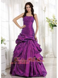 Eggplant Purple Ruched Bodice and Pick-ups for Prom Dress    http://www.fashionos.com  http://www.facebook.com/quinceaneradress.fashionos.us   So elegant and gorgeous this eggplant prom dress is! The fittted , strapless bodice is enrusted with some ruching throughout which shows your slim figure completely. The full skirt suits most of figures and the pick-ups give you a sense of loveliness and elegance.