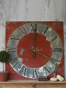 Antique European Clock Face in Brick Red