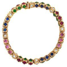 Ricardo Basta JEWELLERY  Tourmaline, garnet, emerald and pink  / Blue sapphire.