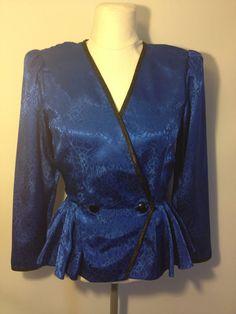 Vintage Designer Blue and Black Long Sleeve Peplum V by DIYstylist, $12.99