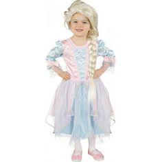 Lichtblauw met roze prinsessenjurk met driekwart mouwen. Materiaal: 100% polyester.