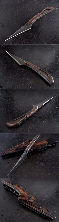 Stonewood Custom Kiridashi Knife 2016 Fixed Knife Blade - CPM S35VN stainless steel blade. Antiqued copper handles @aegisgears http://stone-wood.com/html/custom_kiridashi_knife_261.html