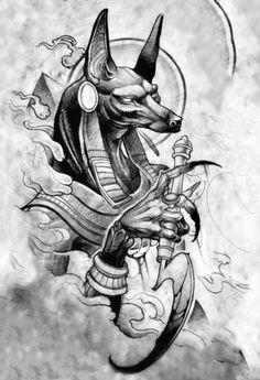 God Tattoos, Badass Tattoos, Body Art Tattoos, Tattoo Sketches, Tattoo Drawings, Egypt Tattoo Design, Anubis Drawing, Ozzy Tattoo, Chicano Art Tattoos