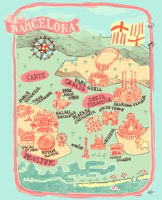 My pal Mika Nakano's Barcelona map for the excellent collaborative illustration blog, Ten Paces and Draw! The piece is based on a sketch by Julia Kastreva.