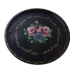 NASHCO PRODUCTS Toleware round tin tray hand painted vintage mid century decor