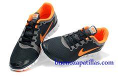 Hombre Nike Free 3.0 V2 Zapatillas (color : vamp - negro , en el interior y logotipo - naranja; sole - blanco)