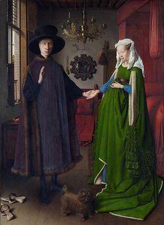 FECHA: 1434 AUTOR: Jan Van Eyck TITULO: El matrimonio Arnolfini. ESTILO: Gótico(pintura flamenca).  CARACTERÍSTICAS: Minuciosidad y gusto por el detalle. Las obras se conciben para ser contempladas de cerca, y por eso se recrean detalles..  Interés por la reproducción de los objetos de la vida cotidiana, como las escenas burguesas en interiores, con muebles, cuadros y diversos objetos.