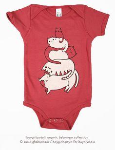 Organic Baby Onesie chat bébé vêtements bébé bio par boygirlparty