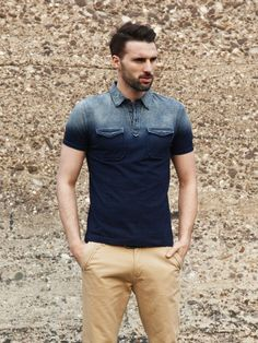 mens ombre polo shirt