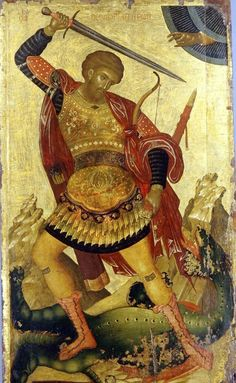 Religious Images, Religious Icons, Religious Art, Byzantine Icons, Byzantine Art, Saints And Soldiers, Types Of Armor, Saint George And The Dragon, Russian Icons