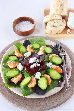 Beet, Orange, and Gorgonzola Salad is a flavorful blend that will make your tastebuds sing! Best Salad Recipes, Veggie Recipes, Healthy Dinner Recipes, Amazing Recipes, Creamy Salad Dressing, Bbq Salads, Meals In A Jar, Food Dishes, Main Dishes