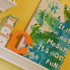 Canvas + letter stickers + paint + kid = art!!