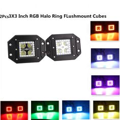 12W 3x3 Inch Remote Controller Flush Mount LED Pods/Cubes RGB Halo Ring Spotlight SUV Off Road Headlight Pods Driving Fog Light With Mounting Bracket