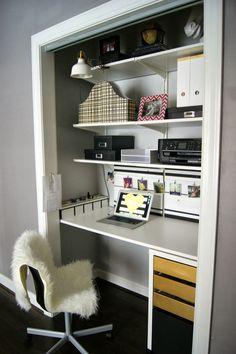 Desk In Closet diy office closet desk, an organized cloffice space | closet desk