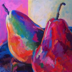"Daily Paintworks - ""Pears"" - Original Fine Art for Sale - © Lorrie Bouhaouala Fruit Painting, Paintings Of Fruit, Food Art Painting, Paintings For Sale, Vegetable Painting, Fruits Drawing, Wow Art, Still Life Art, Caravaggio"