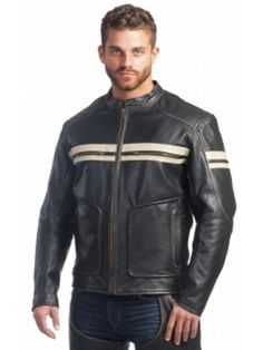Image result for Retro Striped Leather Jacket