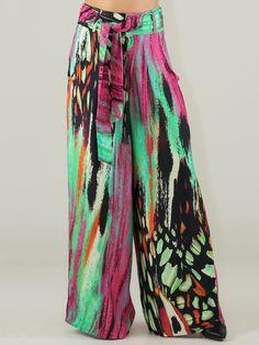 #AdoreWe #StyleWe Wide Leg Pants - Designer Morena Rosa Multicolor Boho Printed Wide Leg Pants - AdoreWe.com