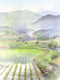 春崎干太,来自日本的水彩画家。。风景为主,妻子春崎阳子也是一位水彩画家。。