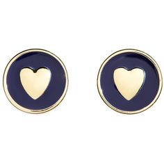 Brooks Brothers Heart Earrings ($24) ❤ liked on Polyvore featuring jewelry, earrings, accessories, navy, heart shaped earrings, heart earrings, heart jewellery, navy blue jewelry e heart jewelry