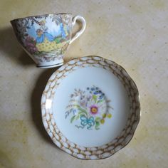 Vintage English Bone China Mismatched Teacup & by MiladyLinden