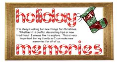 Holiday Memories..stocking stuffer ideas for all ages