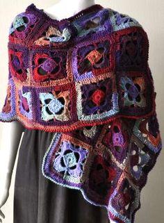 Mochi Plus Flower Garden Wrap - granny style motif crochet - Crystal Palace Yarns Tutorial ✿⊱╮Teresa Restegui http://www.pinterest.com/teretegui/✿⊱╮