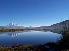 Nevado Chimborazo visto desde la laguna de Colta, Riobamba en Provincia del Chimborazo