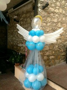 más y más manualidades: Bellas decoraciones de ángeles usando globos Balloon Tree, Baby Balloon, Balloon Garland, Balloon Decorations, Birthday Decorations, Christening Balloons, Baby Boy Christening, Baby Shower Fruit, Baby Boy Shower