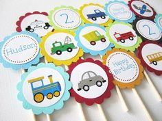 Personalized Transportation Birthday Cupcake toppers- without the bday one---for aunt Vicki