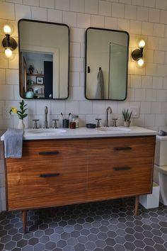 Brownstone Boys Primary Bathroom Tile | Fireclay Tile | Fireclay Tile Upstairs Bathrooms, Basement Bathroom, Bathroom Interior, Master Bathroom, White Bathroom Tiles, Glass Bathroom, Vanity Bathroom, Fireclay Tile, Bathroom Goals