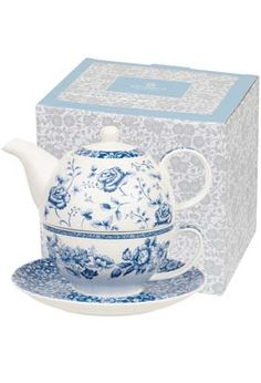 Delight your favorite tea-drinker and pamper yourself with this charming 20-ounce teapot, teacup and saucer decorated with luxurious blossoms, garlands and flowerbeds. Their dark blue color has been an English favorite since the late 18th century, when English traders imported blue and white porcelain from China. The teapot nests in the teacup, warming the cup while your tea brews. Fine bone china from Queens of Churchill China, a pottery dating to 1795 in Stoke-on- Trent, Staffordshire