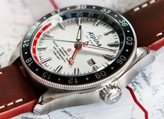 """Alpina Alpiner 4 GMT Business Timer Watch - by David Bredan - Read more from our David Bredan about this cool new Pepsi from Alpina at: aBlogtoWatch.com - """"'Ice Legacy - Believe - Preserve - Transmit.' Behold, a worthy contender for the Most Random Selection Of Words On A Watch Dial 2016 Award, as featured on the Alpina Alpiner 4 GMT Business Timer. Beyond the at-first-baffling dial, there actually is an interesting and competitive, if not entirely new offering released today by Alpina..."""""""