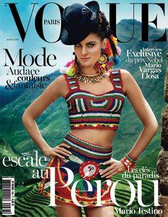 Le numéro d'avril 2013 de Vogue Paris spécial Pérou  http://www.vogue.fr/mode/news-mode/articles/numero-avril-2013-vogue-paris-special-perou-mario-testino-isabeli-fontana/17965
