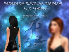 Parabatai Rune on Forearm - For Female Found in TSR Category 'Sims 4 Skintones'