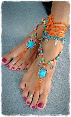 Turquoise Boho BAREFOOT Sandals Sun charm FESTIVAL by GPyoga