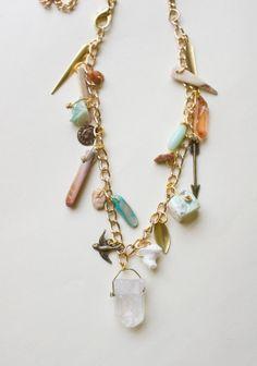 Crystal Quartz Charm Necklace Boho Shell Gypsy by inhersummerdress, $30.00