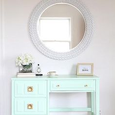 Mint Green Desk, Transitional, den/library/office, Olympic Sweet Pea, Love Grows Wild