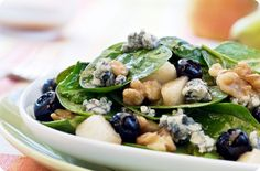 Spinach Salad with St. Agur cheese, Pears, Blueberries, Walnuts and Pear Vinaigrette