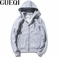 GUEQI ADD Fleece Men Warm Hoodies Plus Size M-3XL Solid Color Zipper Design Clothing 2017 New Fashion Man Hooded Casual Coats #Affiliate