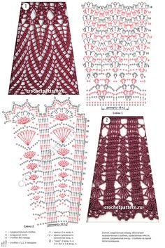 Схемы и рисунки, вязанных крючком узоров с расширением. Страница 137.