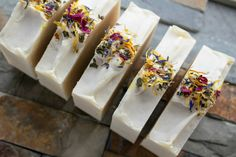 Fresh homemade bars of soap laying out with fresh herbs as a garnish Soap Making Recipes, Homemade Soap Recipes, Mountain Rose Herbs, Herb Recipes, Top Recipes, Soap Making Supplies, Organic Herbs, Soap Molds, Home Made Soap