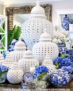 At Luxe Furniture & Homewares we offer an extensive range of Hamptons, Classic, Coastal & French luxury homewares to add style to your home. Die Hamptons, Hamptons Style Decor, Living Room Decor Inspiration, Blue And White China, Decorated Jars, White Home Decor, Ginger Jars, Beach House Decor, Home Decor Accessories