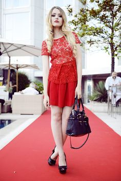 red lace blouse with circle skirt