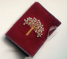 Wool Felt Needle Book Embroidered Red by PatriciaWelchDesigns