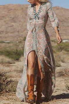 2016 Autumn Women Vintage Floral Print Long Maxi Dress Sexy V-Neck High Split Irregular Party Dress Boho Vestidos Robe de festa Maxi Robes, Chiffon Maxi Dress, Maxi Dress With Sleeves, Slit Dress, Sheer Dress, Maxi Skirts, Half Sleeves, Fancy Maxi Dress, Maternity Skirts