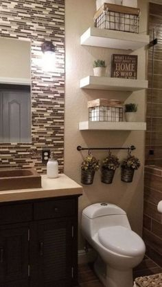 Boho Home Decor Rustic Bathroom decorating ideas # rustic bathroom decor.Boho Home Decor Rustic Bathroom decorating ideas Diy Bathroom, Rustic Bathroom Decor, Bathroom Colors, Bathroom Interior, Small Bathroom, Bathroom Ideas, Bathroom Storage, Design Bathroom, Storage Mirror