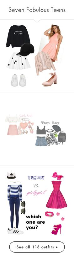 """Seven Fabulous Teens"" by sierra-ivy on Polyvore featuring Yves Saint Laurent, LULUS, Zizzi, tomboy, Topshop, Gucci, Chicnova Fashion, adidas Originals, Miss Selfridge and Converse"
