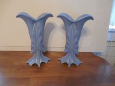 "Beautiful Pair of Vintage Blue Camark Pottery Vases 11"" Tall Signed 598 USA"