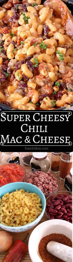 Cozy up and enjoy the combined goodness of the all-time American classics with this super cheesy Chili Mac and Cheese.   www.foxyfolksy.com