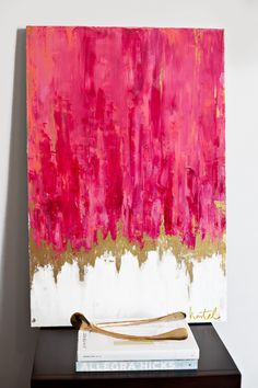 Pink abstract painting with books and goden wish bone. #art #gold #decor #decoration #interior